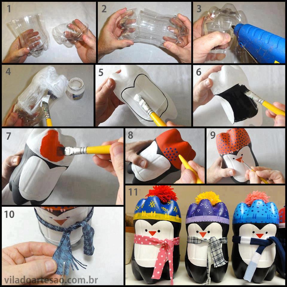Manualidades con botellas PET, Dulceros de pingüinos.