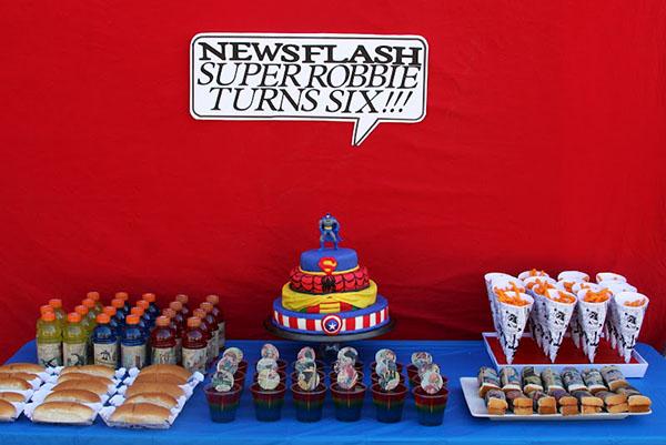 mesa fiesta tematica super heroes