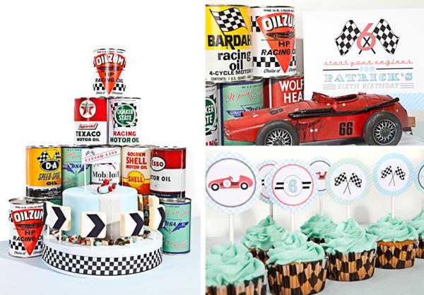 Fiesta temática Carreras de autos retro